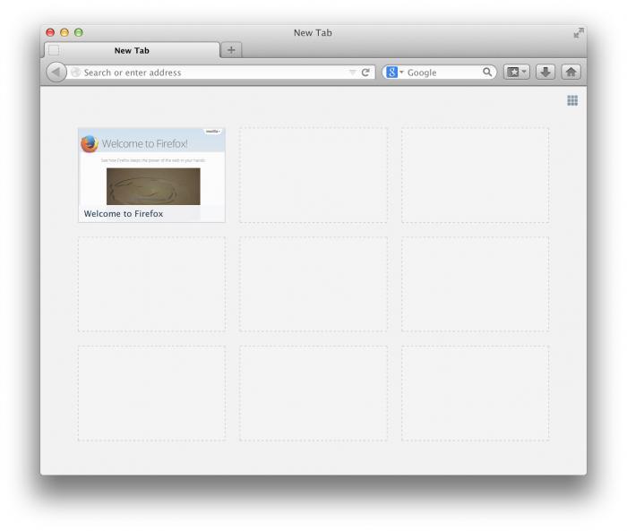 Screenshot einer fast leeren Tab-Seite.