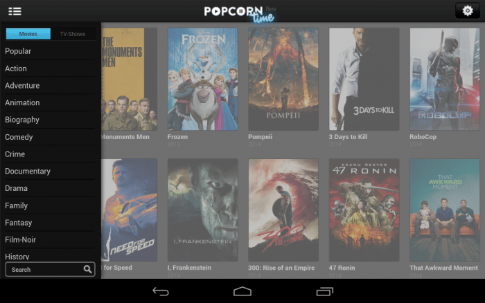 Popcorn Time unter Android.