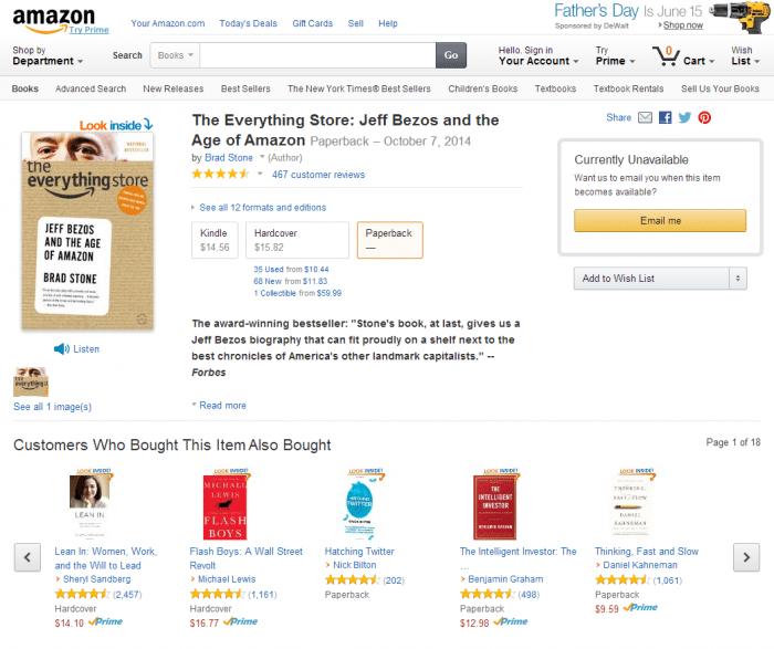 Passenderweise gehört Brad Stones Amazon-Kritik zu den betroffenen Büchern, die der Versandhändler nicht mehr anbietet. In Deutschland ist es weiterhin erhältlich.