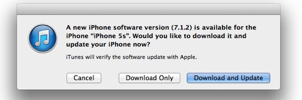 iOS 7.1.2 – hier der Hinweis in iTunes.