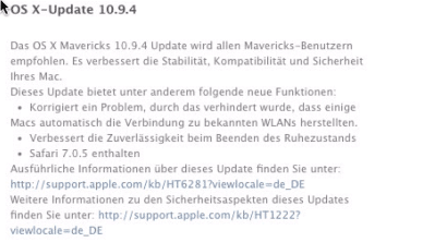 OS X 10.9.4 ist womöglich Apples letzte Mavericks-Version vor OS X 10.10.