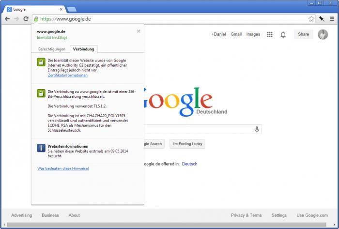 Google verwendet HTTPS-Verschlüsselung und ermutigt andere Websites, es auch zu tun.