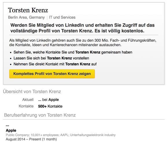 LinkedIn-Profil von Krenz.