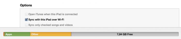 """Gelb ist """"Sonstiges"""": Speicherplatzverteilung in iTunes."""