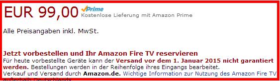 Keine Garantie: Wer heute ein Fire TV vorbestellt, bekommt es möglicherweise erst 2015.