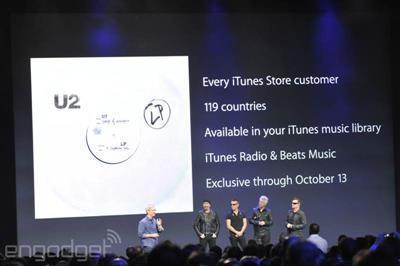 Nach der Vorstellung der neuen Produkte spielte Cook auf Apples Liebe zur Musik an und machte einen Deal mit U2.