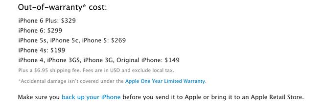iPhone-Reparaturpreise auf Apple.com.
