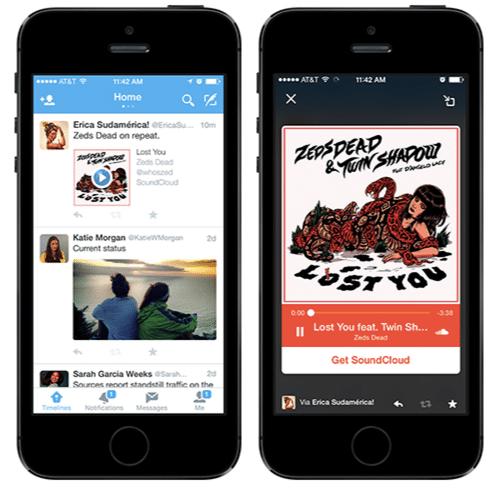 Twitter-App mit Musikabspielfunktion unter iOS.