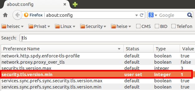 """Einige Browser lassen sich mit wenig Aufwand gegen die Poodle-Attacke schützen – man schaltet wie in Firefox zu sehen einfach das gefährliche SSLv3 in """"about:config"""" ab. Um anfällige Web-, Mail- oder VPN-Server in Routern abzusichern, braucht man bei den allermeisten Geräten Firmware-Updates des Herstellers."""