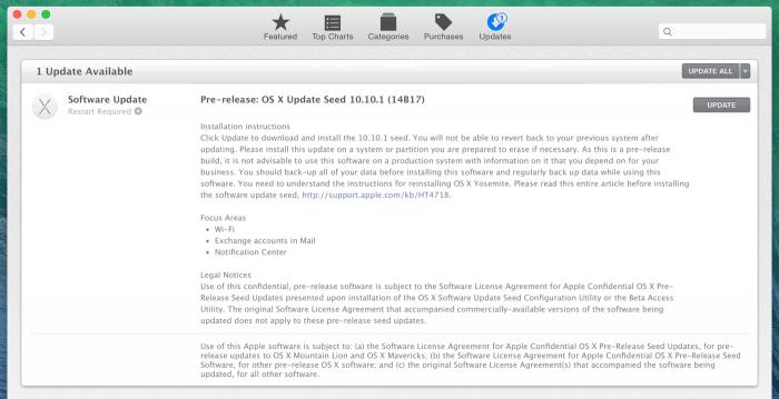 Die erste Beta von OS X 10.10.1.