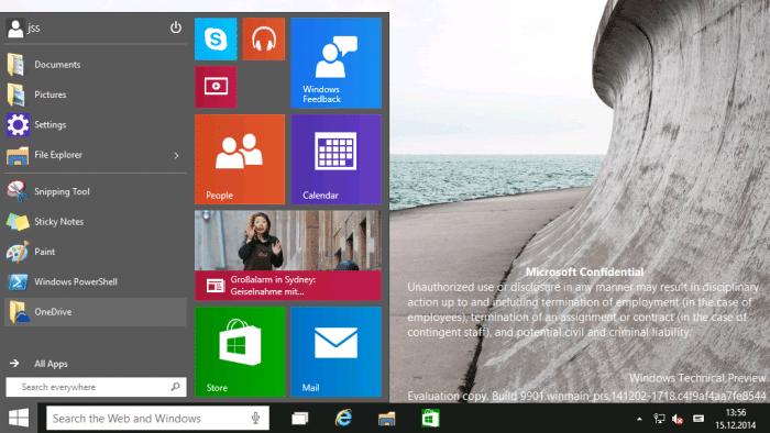 Windows 10 Technical Preview Build 9901 ins Netz gesickert