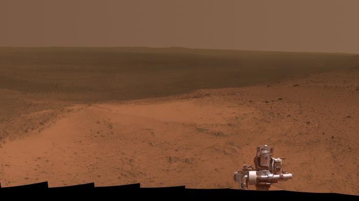 Mars-Rover Opportunity: Höhenpanorama zum 11. Jahrestag