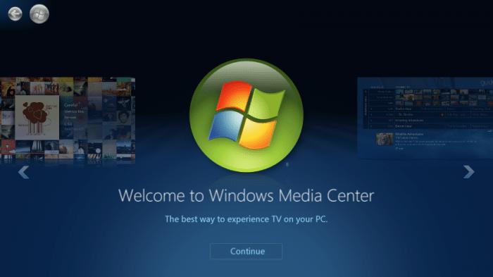 Windows 10 ohne Media Center