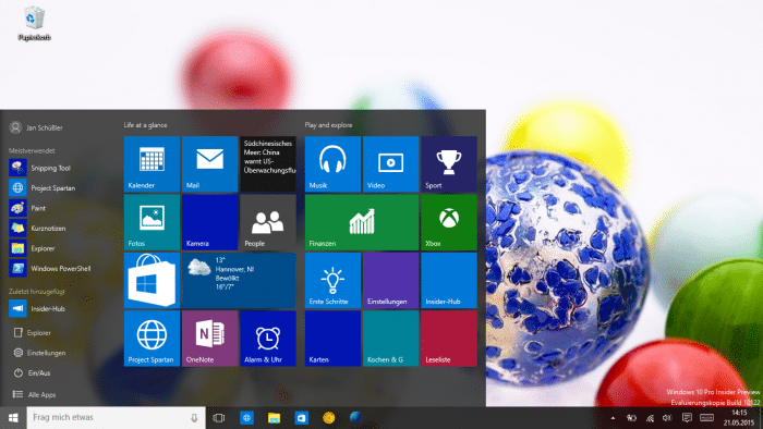 WIndows 10 Vorabversion Build 10122