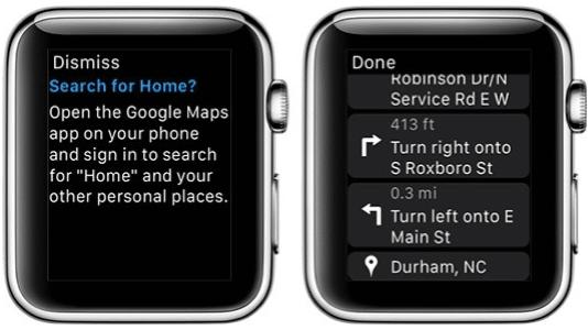 Google Maps kommt auf die Apple Watch - ein bisschen