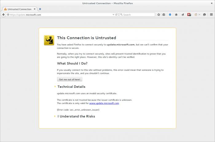 Ungültiges Zertifikat auf der Windows-Update-Webseite