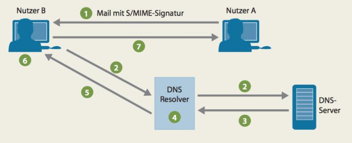 Ein üblicher S/MIME-fähiger Mail-Client signiert Mails automatisch und sendet den offentlichen Schlussel gleich mit (1). Wenn die Mail ein Client empfängt, der für SMIME/A ausgelegt ist, und der Nutzer antworten will, fragt der Client zuerst im DNS nach dem SMIMEA-Record der Absenderadresse (2, 3). Der DNS-Resolver validiert und reicht die Antwort des DNS-Servers an den Client weiter (4, 5). Nur wenn die aus dem DNS und der Mail erhaltenen Fingerprints identisch sind, gilt der Public Key des ursprünglichen Senders als vertrauenswürdig. Dann verschlüsselt der Empfänger-Mail-Client damit seine Antwort und schickt sie ab (6, 7).