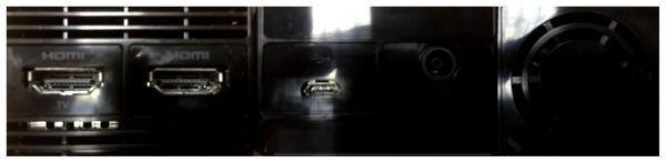 Die Rückseite der Processing-Box: HDMI-In, HDMI-Out, Micro-USB, Stromanschluss und Lüfter.