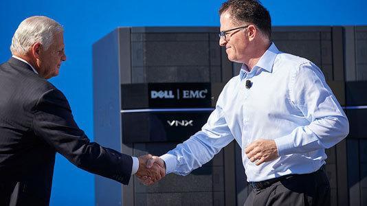 EMC-CEO Joseph Tucci (l.) und Michael Dell