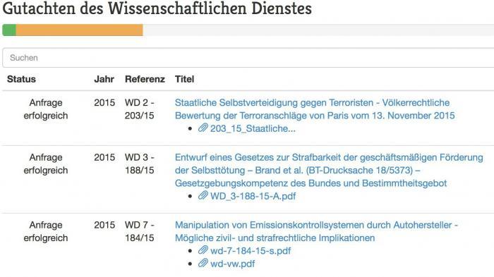 Frag den Bundestag: Parlamentsgutachten sollen öffentlich werden