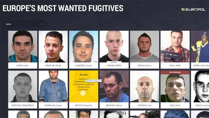 Europol: Website für die Suche nach Europas meistgesuchte Straftäter eröffnet