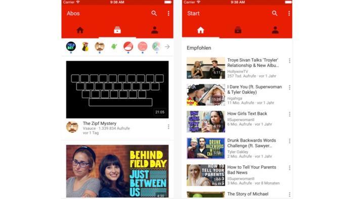 YouTube-App fürs iPad Pro angepasst ? halb