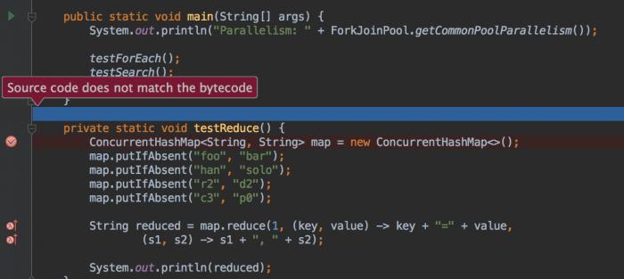 Wenn der Bytecode nicht dem angezeigten Source entspricht, warnt die Umgebung den Entwickler.