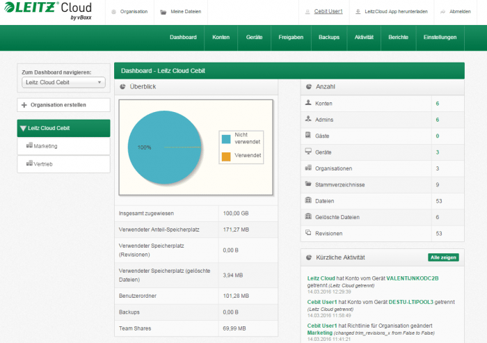 Dashboard der Leitz Cloud 2.0