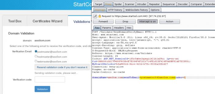 Mit einem Proxy kann man die an den Server geschickte E-Mail-Adresse verändern und konnte damit die Verifikations-E-Mail umleiten.