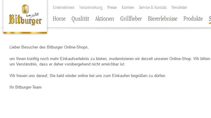 Online-Shop der Brauerei Bitburger gehackt