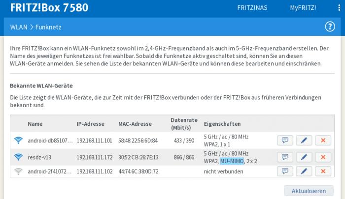 """Ob sie Clients schnell, also in der MU-MIMO-Betriebsart anbindet, zeigt die Fritzbox 7580 in der Bedienoberfläche (blaue Unterlegung in der Spalte """"Eigenschaften"""")."""