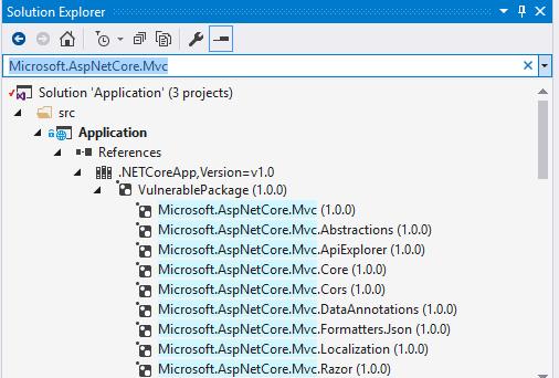 Ansicht von transitiven Abhängigkeiten in Visual Studio.