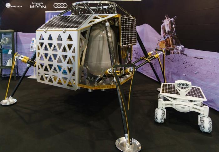 "Landemodul ""Alina"" (Autonomous Landing and Navigation Module) und Rover ""Audi Lunar Quattro"" nach aktuellem Stand."