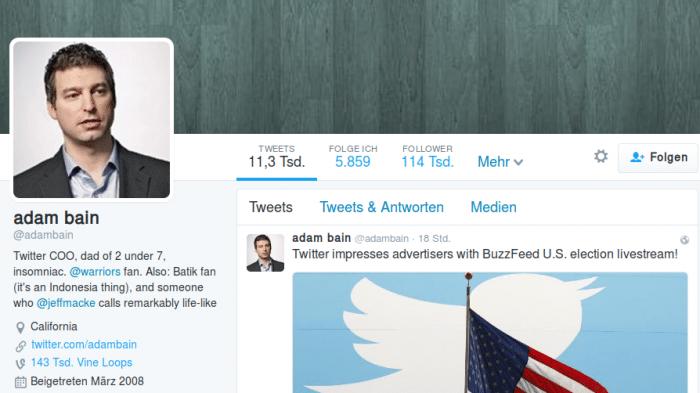 Twitter: COO Adam Bain verlässt das Unternehmen