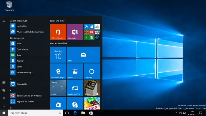 Windows 10: Insider Preview 15002 gibt Feature-Ausblick aufs Frühjahr