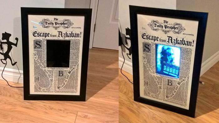 Bilderrahmen mit bewegtem Bild, dem Daily Prophet, der Tageszeitung aus Harry Potter