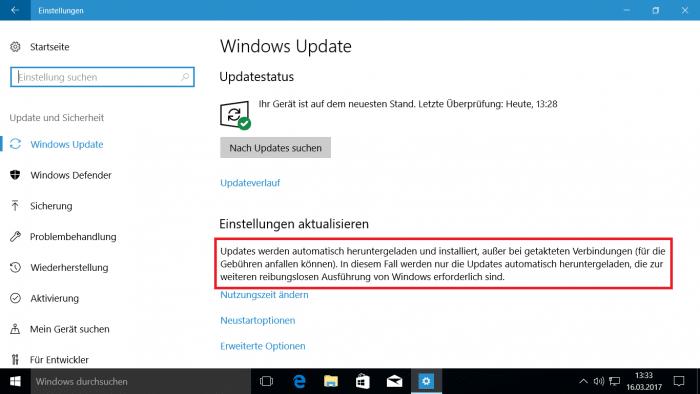 """Windows 10: """"Getaktete Verbindung"""" unterbindet nicht alle Update-Downloads"""
