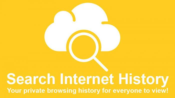"Kampagnensujet ""Search Internet History - Your private browsing history for everyone to view!"""