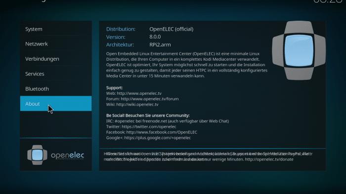 Linux-Distribution: OpenELEC 8.0 Integriert Kodi 17