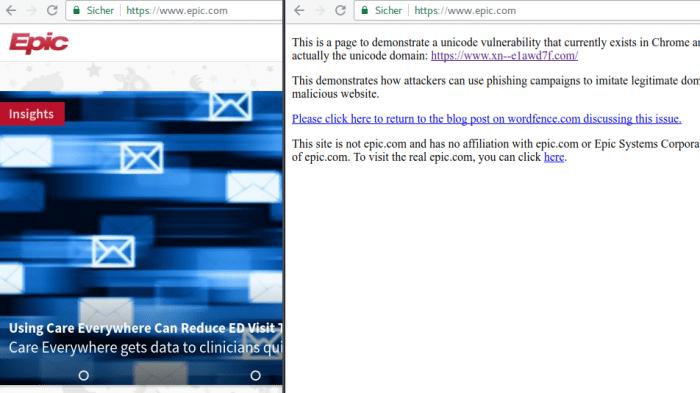 Browser noch immer für Phisihing durch Unicode-Domains anfällig.