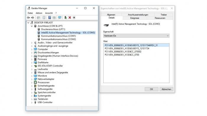 Intels Active Management Technology (AMT) kann per Serial-over-LAN (SoL) einen virtuellen COM-Port einbinden.