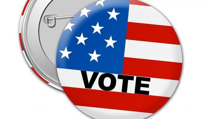 """Anstecker zeigt US-Fahne und Aufschrift """"VOTE"""""""