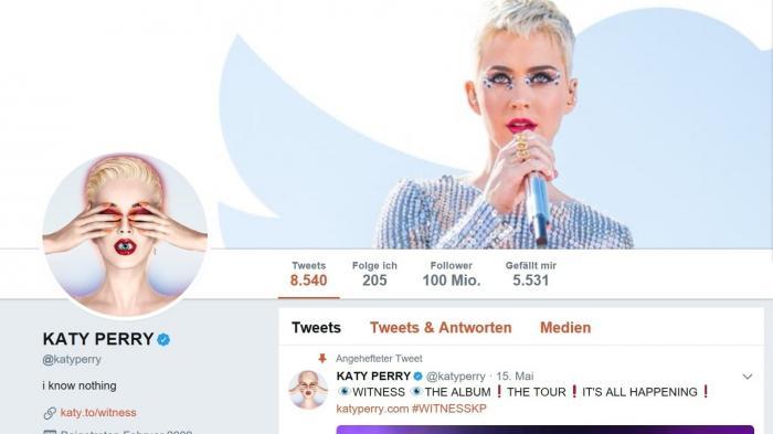 Twitter-Rekord: Katy Perry hat 100 Millionen Follower