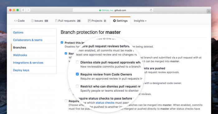 Mit einem Klick lassen sich Pull Requests nur noch nach Reviews durch entsprechende Owner mergen.