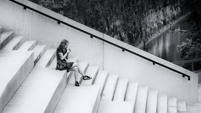 Pause auf der Treppe
