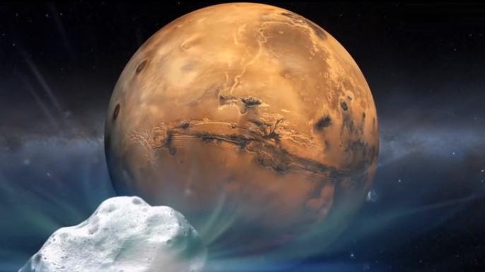 Sonneneruption begleitete aufsehenerregenden Kometen-Besuch am Mars
