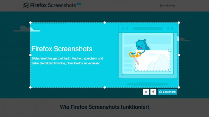 Firefox 56 mit integriertem Screenshot-Tool