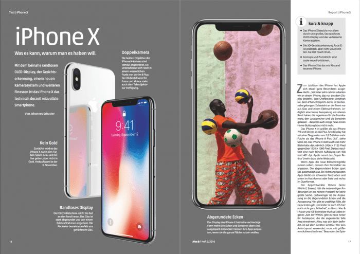 Das iPhone X in Mac & i