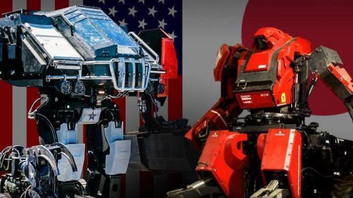 Poster mit zwei Riesenrobotern