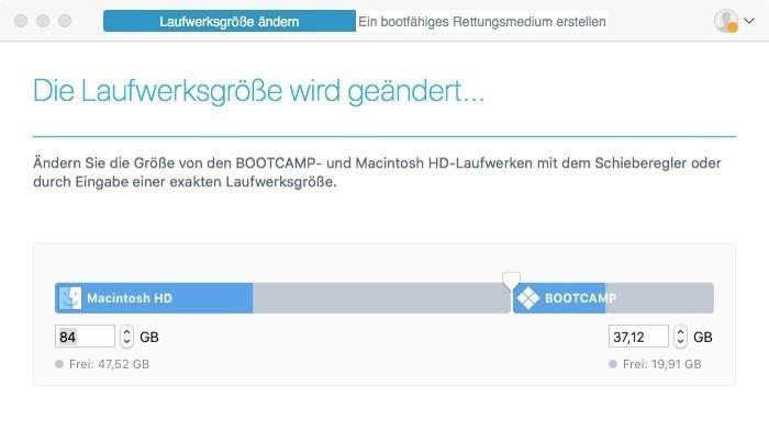Windows unter macOS High Sierra: Tool ändert Partitionsgröße nachträglich